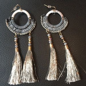 Grey Feather Fringe Festival Earrings